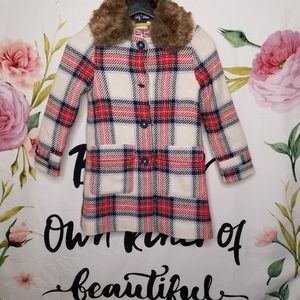 Mini Boden wool coat with removable fauxfur collar
